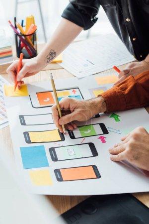 Photo pour Vue recadrée des concepteurs en utilisant des mises en page pour la conception de l'expérience utilisateur du site Web mobile sur la table - image libre de droit