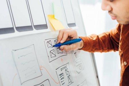 Photo pour Vue recadrée du concepteur avec marqueur design ux créatif du site Web mobile avec des mises en page sur tableau blanc dans le bureau - image libre de droit