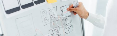 Photo for Cropped view of ux designer using layouts while creative app interface on whiteboard, panoramic shot - Royalty Free Image