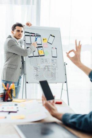 Photo pour Focus sélectif du concepteur ux près du tableau blanc avec des mises en page en regardant un collègue avec smartphone montrant bien chanter au bureau - image libre de droit