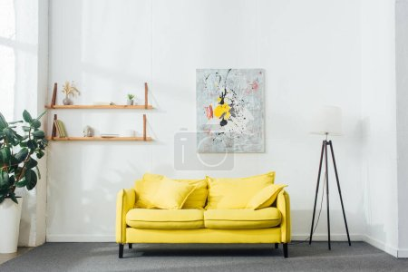 Photo for Interior of living room with yellow sofa and floor lamp - Royalty Free Image