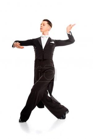 Foto de Elegante bailarín de baile joven aislado en blanco - Imagen libre de derechos
