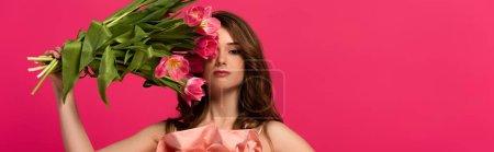 Photo pour Plan panoramique de fille tenant bouquet de fleurs de tulipes de printemps isolé sur rose - image libre de droit