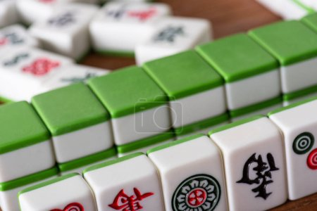 Photo for KYIV, UKRAINE - JANUARY 30, 2019: selective focus of rows of mahjong game tiles with signs and symbols - Royalty Free Image