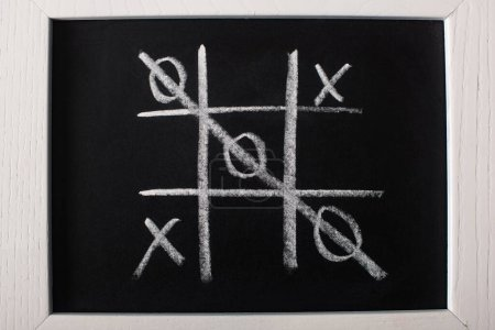 Photo for Top view of tic tac toe game on blackboard with crossed out row on naughts - Royalty Free Image