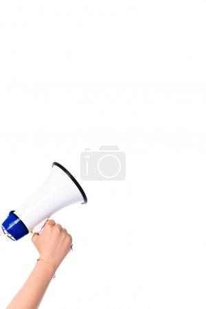 Photo pour Vue recadrée de fille tenant haut-parleur isolé sur blanc - image libre de droit