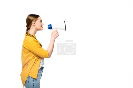 Photo for Side view of pretty girl with braid talking in loudspeaker isolated on white - Royalty Free Image
