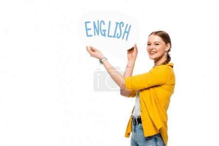 smiling pretty girl with braid holding speech bubble with English lettering isolated on white