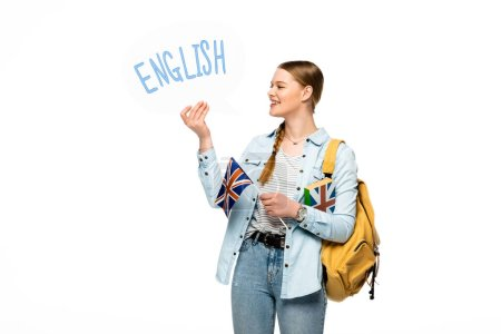 smiling pretty student with backpack holding book, speech bubble with English lettering and British flag isolated on white