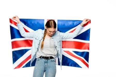 Photo pour Jolie fille avec tresse tenant drapeau britannique isolé sur blanc - image libre de droit