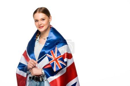 Photo pour Sourire jolie fille avec tresse et uk drapeaux isolés sur blanc - image libre de droit