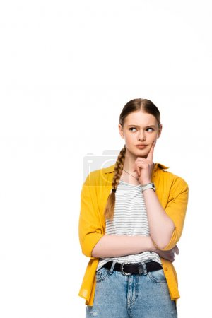 Photo for Pensive attractive girl with braid thinking and looking away isolated on white - Royalty Free Image