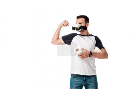 Photo for Man with scotch tape and toilet paper on face holding soft paper roll and showing muscle isolated on white - Royalty Free Image