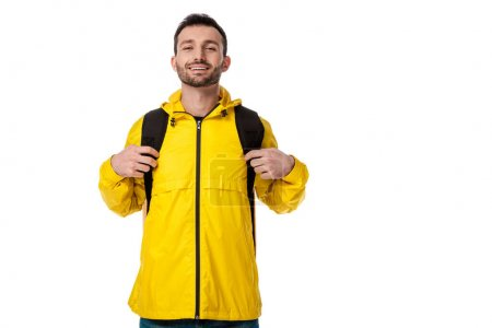 Photo for Happy delivery man with backpack isolated on white - Royalty Free Image