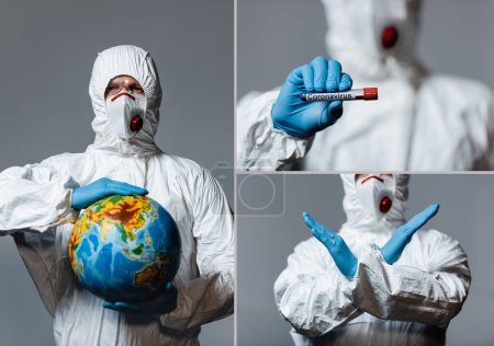 Photo pour Collage of man in personal protective equipment holding globe, test tubes and showing hand with stop coronavirus lettering isolated on grey - image libre de droit