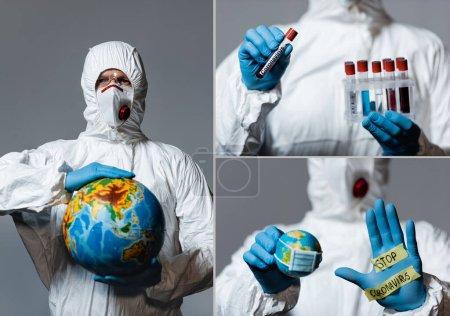 Foto de Collage del hombre en equipo de protección personal sosteniendo globo, tubos de ensayo y mostrando la mano con letras de coronavirus stop aisladas en gris - Imagen libre de derechos