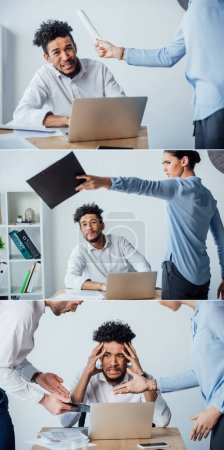 Photo for Collage of multiethnic business people quarreling at offended african american colleague in office - Royalty Free Image