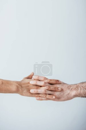 Photo for Cropped view of men holding hands of each other isolated on grey - Royalty Free Image