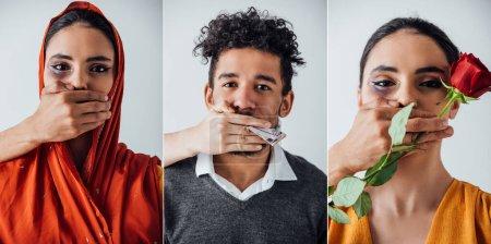 Photo pour Collage de mains masculines et féminines couvrant la bouche de l'homme afro-américain et de la femme indienne avec ecchymose isolée sur gris - image libre de droit