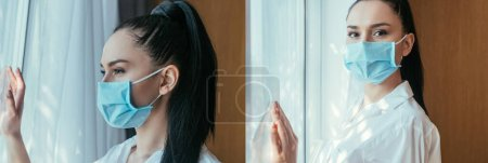 Photo for Collage of sad young woman in medical mask standing near window at home - Royalty Free Image