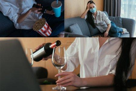 Photo pour Collage d'une femme regardant la télévision, jouant aux échecs et versant du vin dans du verre près d'un ordinateur portable - image libre de droit