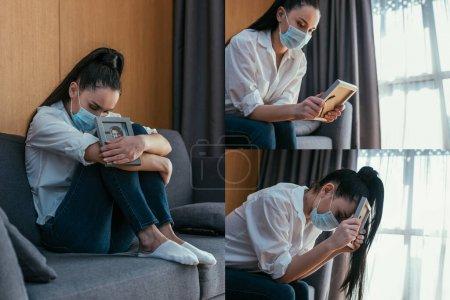 Photo pour Collage de femme déprimée dans le deuil masque médical tout en tenant cadre photo de petit ami - image libre de droit