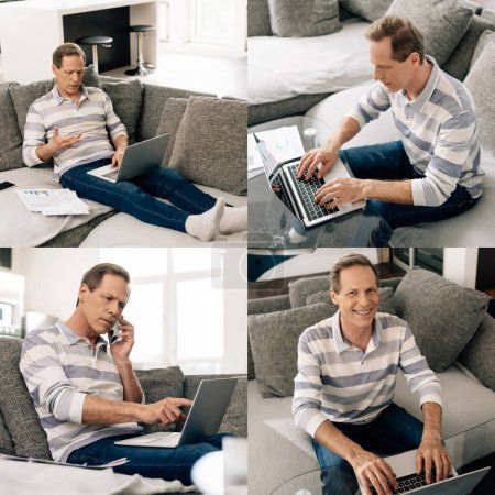 collage of freelancer talking on smartphone and using laptops