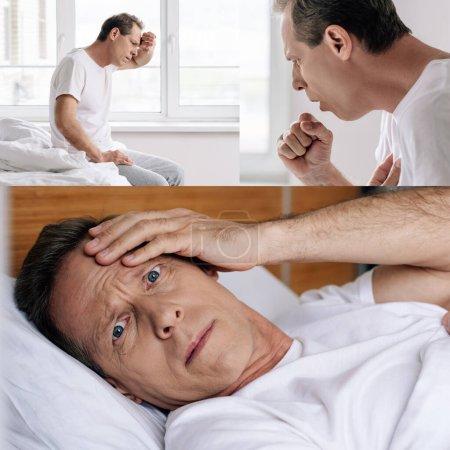 Photo pour Collage de l'homme malade touchant le front et toussant dans la chambre - image libre de droit
