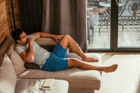 Mischlingshündin entspannt sich während Quarantäne auf Sofa mit Buch im Wohnzimmer