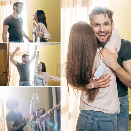 Photo pour Collage de couple heureux tenant des masques médicaux au-dessus de la tête et étreignant à la maison, concept de fin de quarantaine - image libre de droit