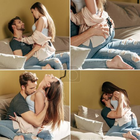 collage of sexy couple hugging and kissing in living room