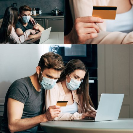 collage of couple in medical masks online shopping at home