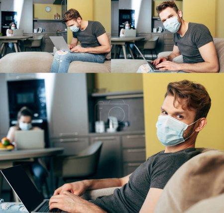 Photo pour Collage de pigiste en utilisant des ordinateurs portables près de la fille à la maison - image libre de droit
