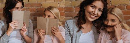 Photo pour Collage d'une mère et d'une fille tenant des livres et souriant à la maison - image libre de droit