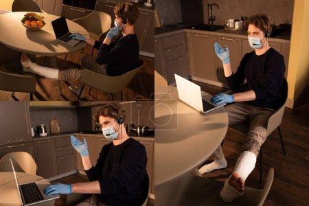 Photo pour Collage d'un pigiste en masque médical et pansement de plâtre sur une jambe à l'aide d'un ordinateur portatif et d'un casque d'écoute dans la cuisine - image libre de droit