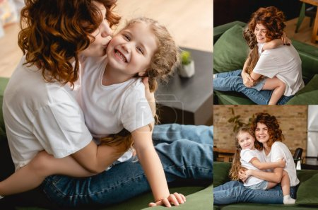 Photo for Collage of curly mother kissing cheek and hugging happy daughter - Royalty Free Image