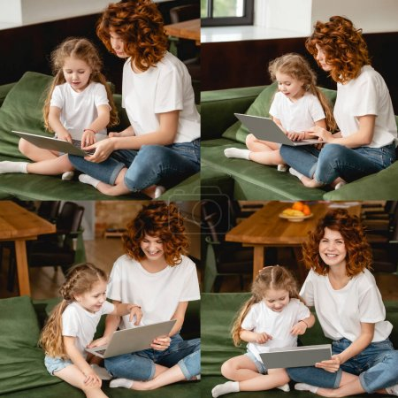 collage of cheerful redhead mother using laptops with cute daughter in living room