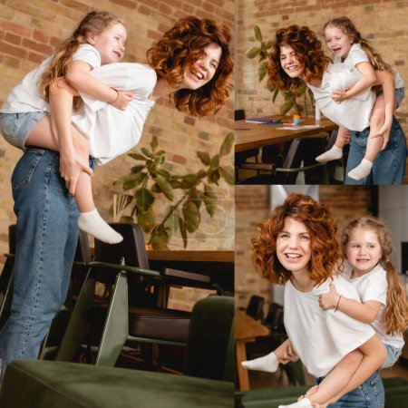 Photo for Collage of happy redhead mother piggybacking cute daughter - Royalty Free Image