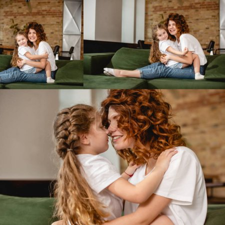 Photo for Collage of cute daughter hugging and touching noses with happy and curly mother - Royalty Free Image