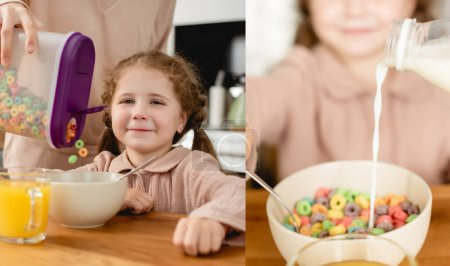 collage of mother holding container with delicious corn flakes and pouring milk near cute daughter