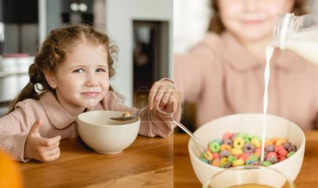 collage of milk pouring into bowl with delicious corn flakes near cute kid
