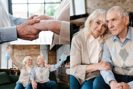 Photo pour Collage avec un couple âgé tenant la main, tenant des masques médicaux et assis à la maison pendant l'isolement - image libre de droit