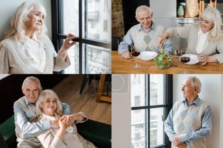 Photo pour Collage avec un couple âgé assis à la maison et dîner sur l'isolement personnel - image libre de droit