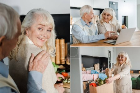 Photo pour Collage avec heureux couple de personnes âgées faisant des achats en ligne, prenant livraison de nourriture et la cuisine pendant l'isolement personnel - image libre de droit