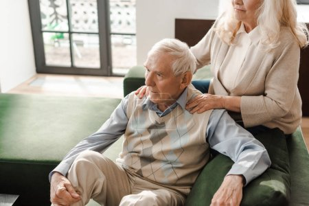 Photo for Senior couple doing massage and chilling at home on self isolation - Royalty Free Image