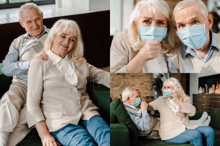 Photo for Collage with elderly couple in medical masks doing massage, and calling doctor with cellphone  at home during coronavirus epidemic - Royalty Free Image