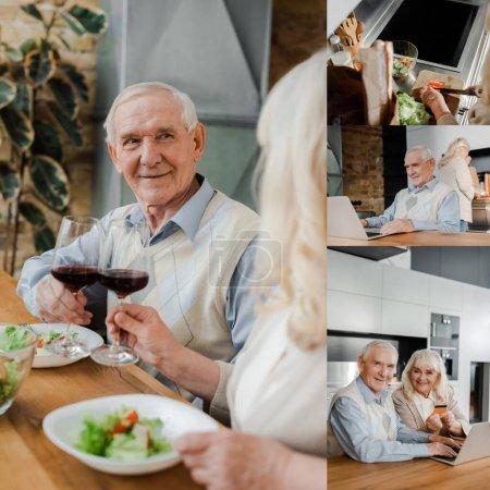 Photo pour Collage avec cuisine de couple âgé, dîner avec du vin et de la salade et utiliser un ordinateur portable à la maison sur l'isolement personnel - image libre de droit