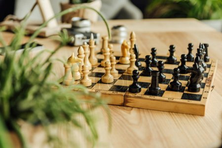 Chess board set during the game