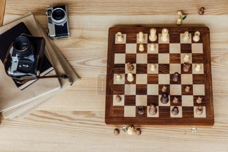 chess board set with old cameras