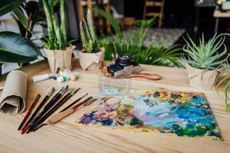 Photo pour Table en bois plein de plantes vertes en pot, fournitures artistiques et appareil photo vintage - image libre de droit